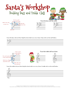 Santa's Workshop-A Christmas Music Worksheet for drawing bass and treble clefs