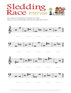 Sledding Race Intervals--Free printable Christmas music theory worksheet