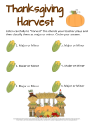 Thanksgiving Harvest Ear Training Worksheet