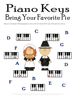 Thanksgiving Music Worksheet Piano Keys Pie