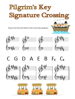 Thanksgiving Music Worksheet for Piano Pilgrims Key Signature Crossing