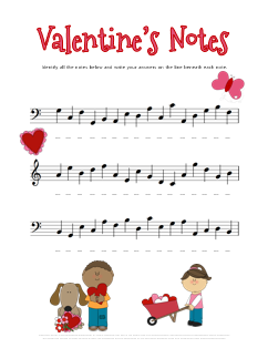 Valentines Music Note Name Worksheet