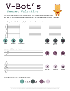 Valentines Music Symbols Tracing Worksheet VBots Secret Valentine