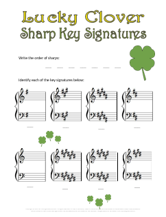 music_theory_worksheet_for_st_patricks_day_lucky_clover_key_signature