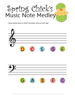 Easter Music Notes Worksheet