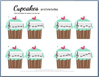 Ear Training Worksheet: Cupcakes Melodies