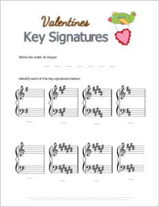 Valentines Free Music Theory Printable: Sharp Key Signatures