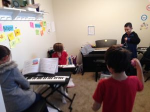 improv jam during group piano lesson