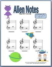 Alien themed bass clef worksheet