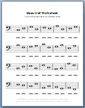 Free printable bass clef worksheet in black and white