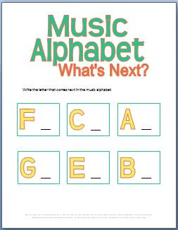 Music Alphabet What's Next Worksheet