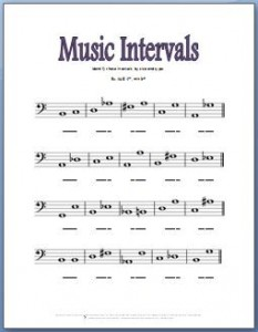 Music theory worksheets for practicing bass clef intervals
