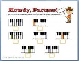 Piano worksheet for learning the names of the piano keys