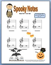 Bass Clef Worksheet for Halloween