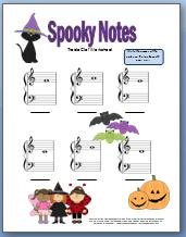 spooky treble clef worksheet for halloween