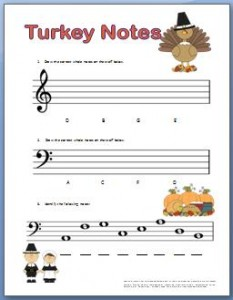 Piano worksheets for kids for Thanksgiving
