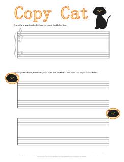 Copy Cat Music Symbol Worksheet for Halloween