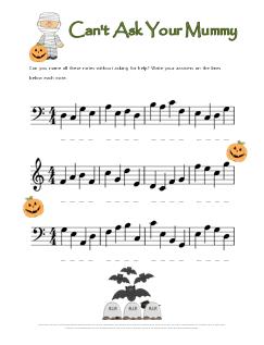 Halloween Note Name Worksheet Mummy