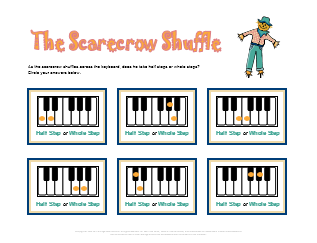 Halloween worksheet for music half steps and whole steps