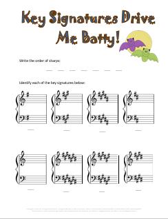 Key Signatures Batty Music Worksheet fo Halloween