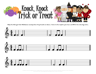 Music rhythmic dictation worksheet for Halloween