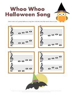 whoo Halloween ear training worksheet