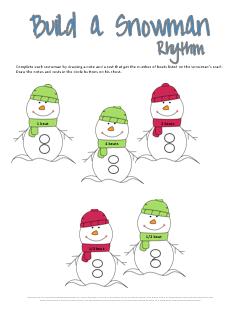 Build a Snowman Rhythm Worksheet