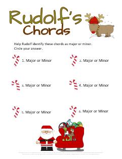 Christmas Ear Training Worksheet Rudolf's Chords
