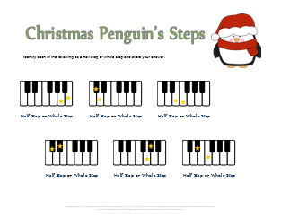 Christmas Penguins Half and Whole Steps Worksheet