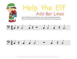 Help the Elf Bar Lines Christmas Music Worksheet