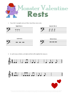 Free Valentines Day Music Theory Worksheet Monster Rests