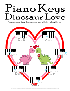 Valentines Day Music Worksheet__Free Printable Dinosaur Piano Keys Activity