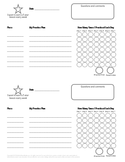 It is a picture of Modest Printable Music Practice Log